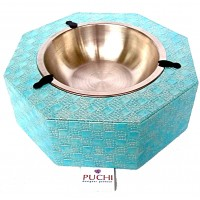 Octagonal Electric Blue Feeding Bowl